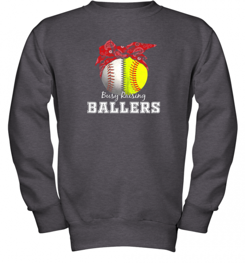 xl9s busy raising ballers softball baseball shirt baseball mom youth sweatshirt 47 front dark heather