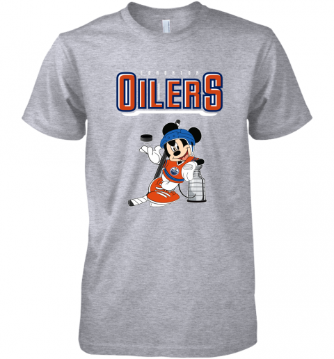 ozot mickey edmonton oilers with the stanley cup hockey nhl shirt premium guys tee 5 front heather grey
