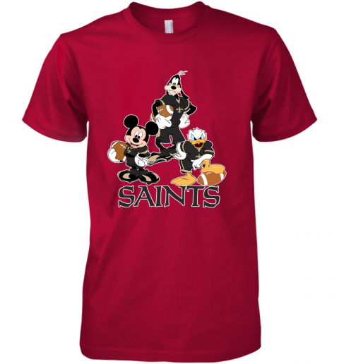 ttjz mickey donald goofy the three new orleans saints football premium guys tee 5 front red
