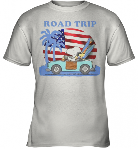 Snoopy And Woodstock Riding Car Road Trip American Flag Independence Day Youth T-Shirt