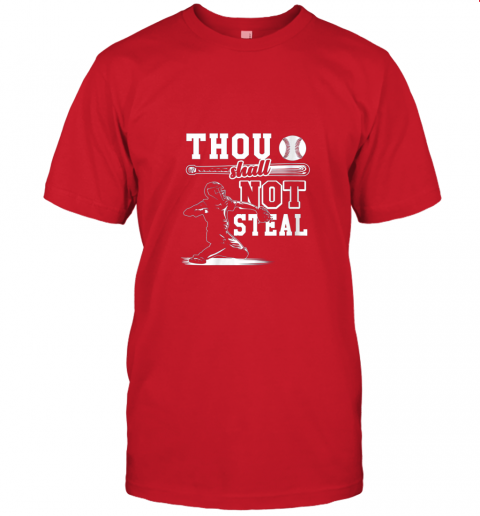 uf4o funny baseball thou shall not steal baseball player jersey t shirt 60 front red