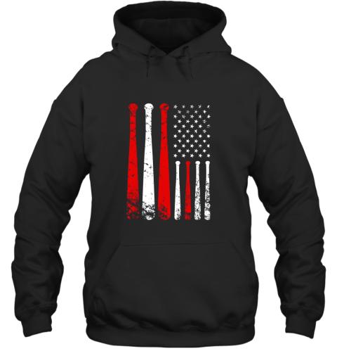 Baseball Inspired American Flag Distressed Hoodie