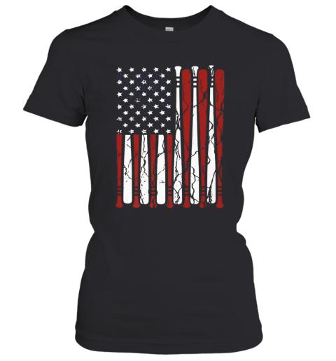 American Flag Baseball Bat 4Th Of July Women's T-Shirt