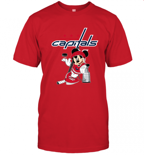 28k9 mickey washington capitals with the stanley cup hockey nhl jersey t shirt 60 front red