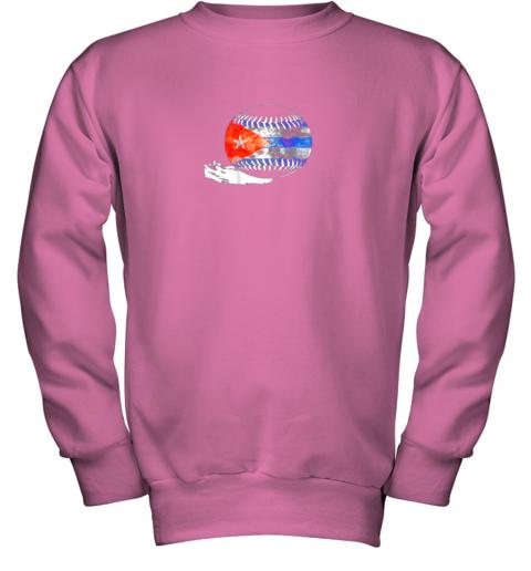 vvoz vintage baseball cuba flag shirt cuban pride youth sweatshirt 47 front safety pink