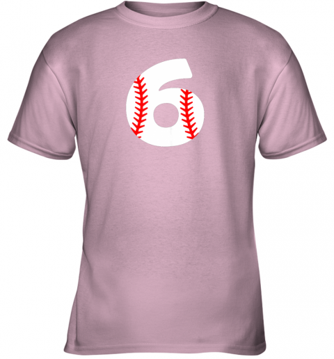 idry sixth birthday 6th baseball shirtnumber 6 born in 2013 youth t shirt 26 front light pink