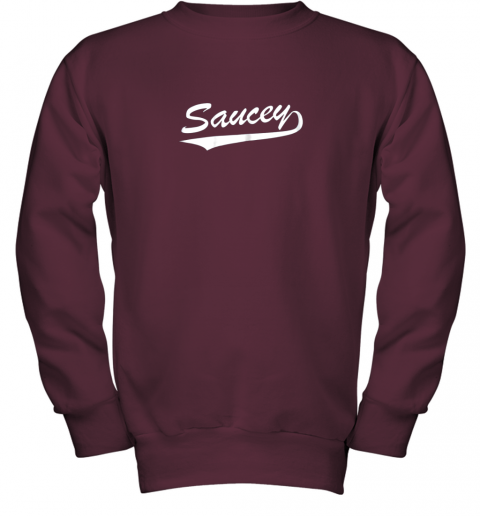 afbh saucey swag baseball youth sweatshirt 47 front maroon