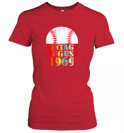 unks born august 1969 baseball shirt 50th birthday gifts ladies t shirt 20 front red