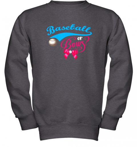 luzl cute baseball or bows gender reveal party youth sweatshirt 47 front dark heather