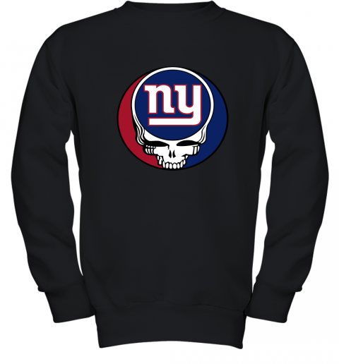 ql15 nfl team new york giants x grateful dead logo band youth sweatshirt 47 front black