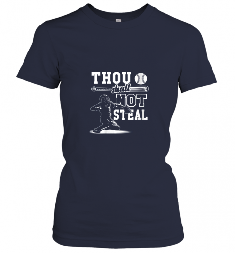 mlpv funny baseball thou shall not steal baseball player ladies t shirt 20 front navy