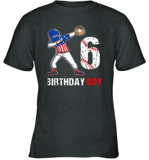 vqcl kids 6 years old 6th birthday baseball dabbing shirt gift party youth t shirt 26 front dark heather