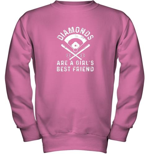 wnhk diamonds are a girl39 s best friend baseball youth sweatshirt 47 front safety pink