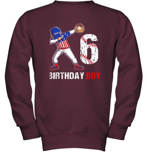 zcsm kids 6 years old 6th birthday baseball dabbing shirt gift party youth sweatshirt 47 front maroon