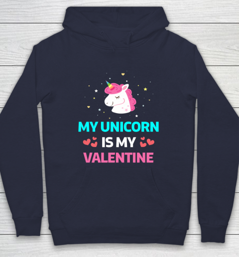 Funny Valentines Day Shirt Unicorn Is My Valentine Hoodie 2
