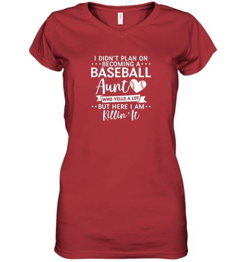 ni9n i didn39 t plan on becoming a baseball aunt gift women v neck t shirt 39 front red