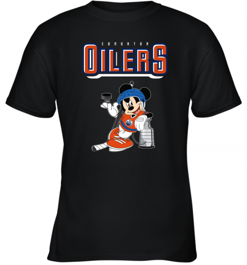 khn2 mickey edmonton oilers with the stanley cup hockey nhl shirt youth t shirt 26 front black