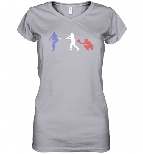 ruhf baseball usa flag american tradition spirit women v neck t shirt 39 front sport grey