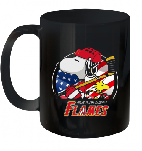 Calgary Flames   Snoopy And Woodstock NHL Ceramic Mug 11oz