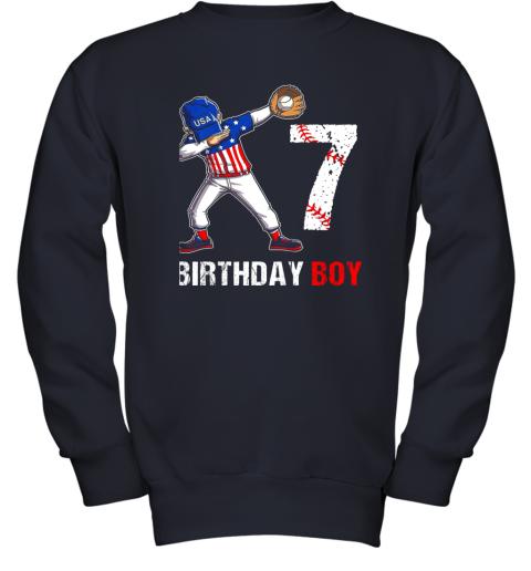 acmm kids 7 years old 7th birthday baseball dabbing shirt gift party youth sweatshirt 47 front navy