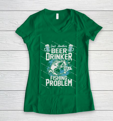 Beer Lover Funny Shirt Fishing ANd Beer Women's V-Neck T-Shirt 3