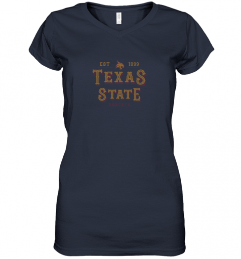 9btj texas state bobcats womens college ncaa women v neck t shirt 39 front navy