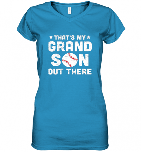 wrkx grandma that39 s my grandson out there baseball women v neck t shirt 39 front sapphire