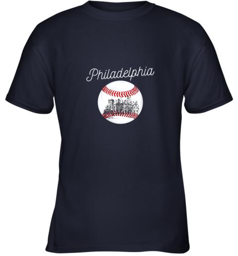 opqv philadelphia baseball philly tshirt ball and skyline design youth t shirt 26 front navy