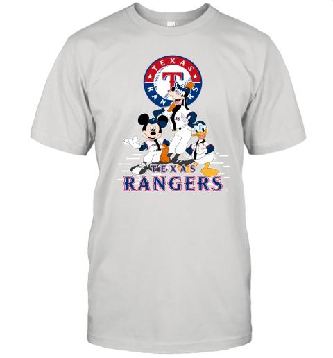 Texas Rangers Mickey Donald And Goofy Baseball Unisex Jersey Tee