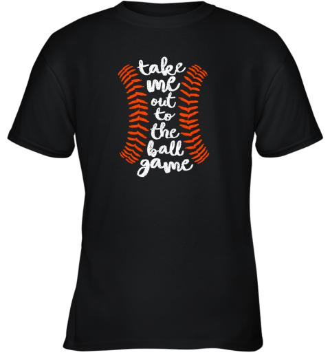Take Me Out Ball Game Shirt Baseball Song Orange Black Blue Youth T-Shirt