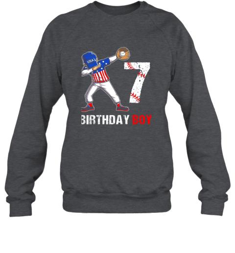 vmve kids 7 years old 7th birthday baseball dabbing shirt gift party sweatshirt 35 front dark heather
