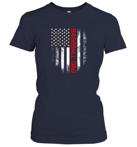 ktrn vintage usa american flag proud baseball dad player ladies t shirt 20 front navy