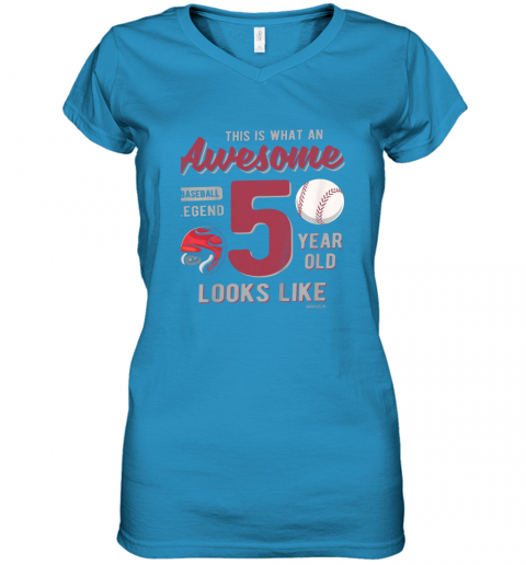56jp kids 5th birthday gift awesome 5 year old baseball legend women v neck t shirt 39 front sapphire