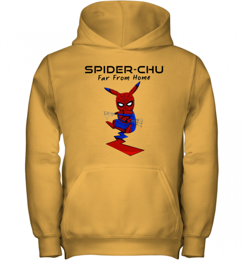 odyu spider chu far from home spider man pokemon pikachu mashup shirts youth hoodie 43 front gold