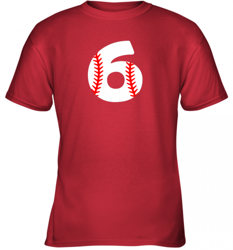 idry sixth birthday 6th baseball shirtnumber 6 born in 2013 youth t shirt 26 front red