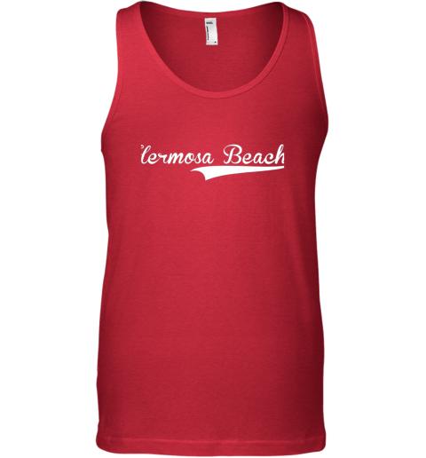 kivk hermosa beach baseball softball styled unisex tank 17 front red