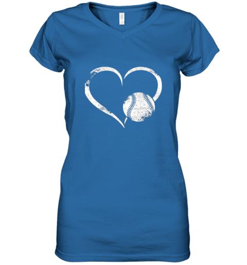 x7oe i love baseballl funny baseball lover heartbeat women v neck t shirt 39 front royal
