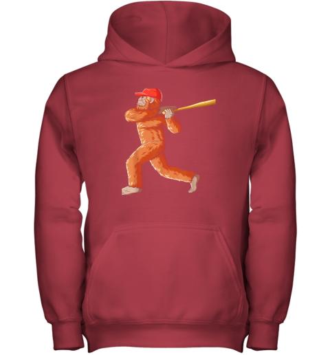 7yi6 bigfoot baseball sasquatch playing baseball player youth hoodie 43 front red