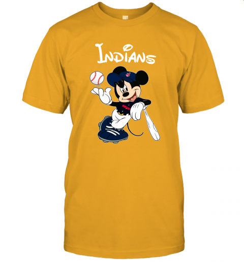j09x baseball mickey team cleveland indians jersey t shirt 60 front gold