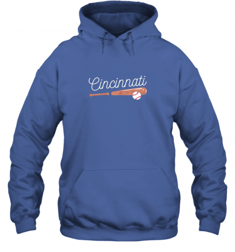 trwh cincinnati baseball tshirt classic ball and bat design hoodie 23 front royal