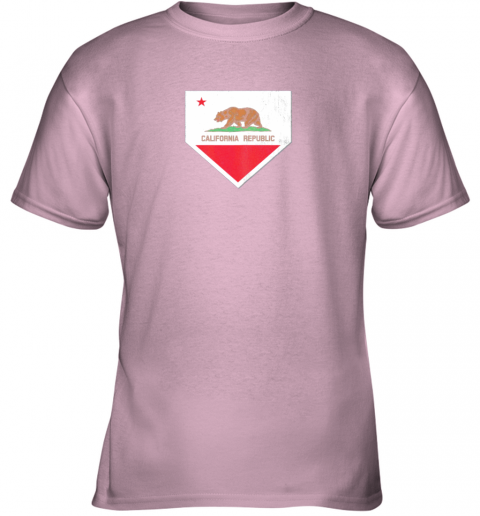 odug vintage baseball home plate with california state flag youth t shirt 26 front light pink