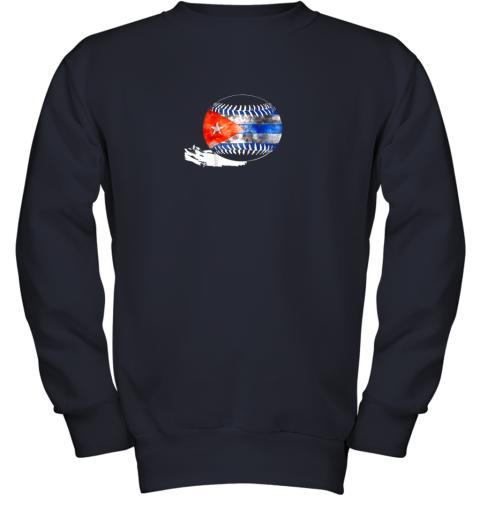 vvoz vintage baseball cuba flag shirt cuban pride youth sweatshirt 47 front navy
