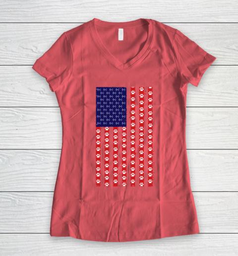 Baton Twirling Dog Lover American Flag Women's V-Neck T-Shirt 4
