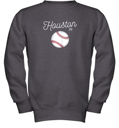 ykv4 houston baseball shirt astro number 19 and giant ball youth sweatshirt 47 front dark heather