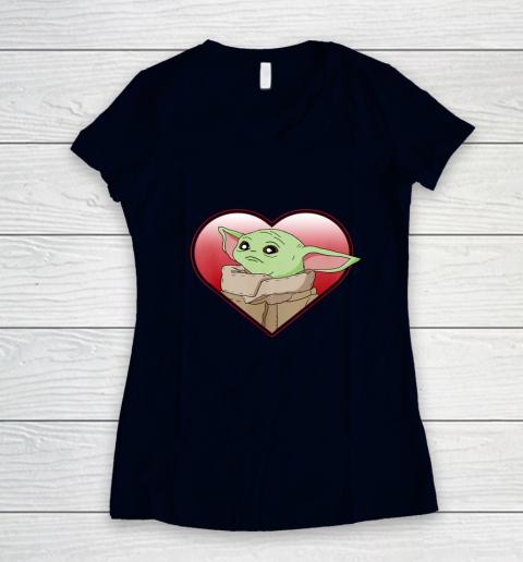 Star Wars The Mandalorian The Child Valentine Heart Portrait Women's V-Neck T-Shirt 2