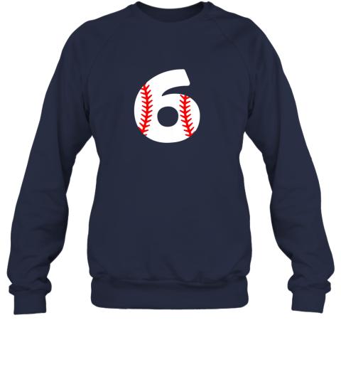 ryhv sixth birthday 6th baseball shirtnumber 6 born in 2013 sweatshirt 35 front navy
