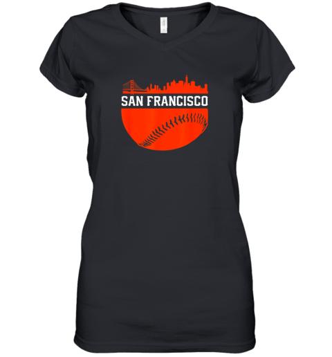 San Francisco Baseball Vintage SF The City Skyline Gift Women's V-Neck T-Shirt
