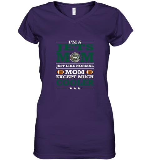 swqz i39 m a jets mom just like normal mom except cooler nfl women v neck t shirt 39 front purple