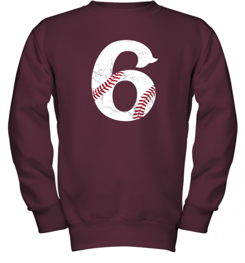 wmvt kids happy birthday 6th 6 year old baseball gift boys girls 2013 youth sweatshirt 47 front maroon
