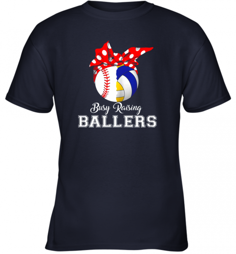 fqml baseball volleyball busy raising ballers shirt mothers day youth t shirt 26 front navy